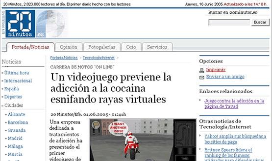 20minutos 160605 - Artículos de prensa sobre Tavad y la adicción a las drogas en Internet