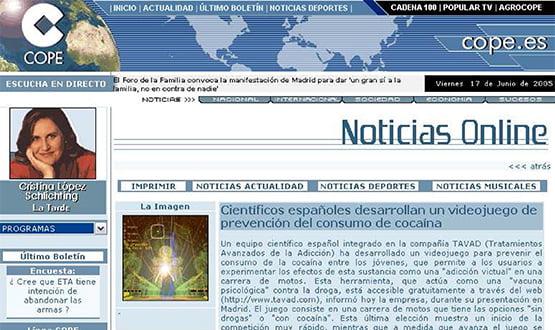 cope 170605 - Artículos de prensa sobre Tavad y la adicción a las drogas en Internet