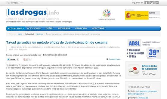 lasdrogasinfo - Artículos de prensa sobre Tavad y la adicción a las drogas en Internet