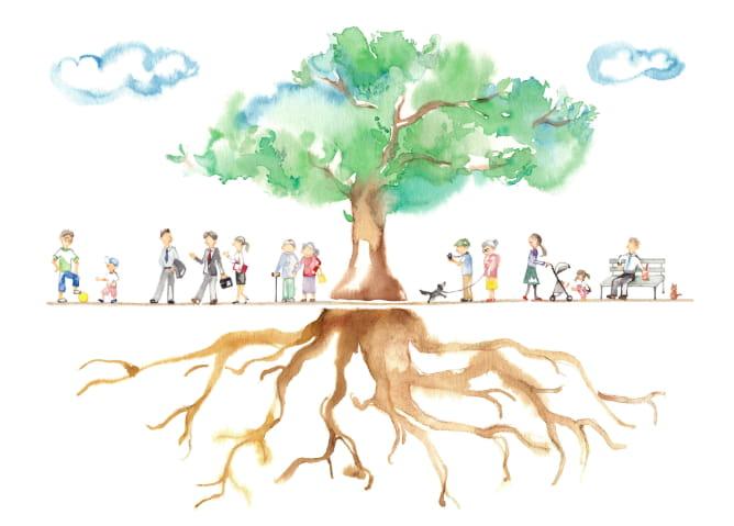 ilustracion de arbol y raices con personas a su alrededor