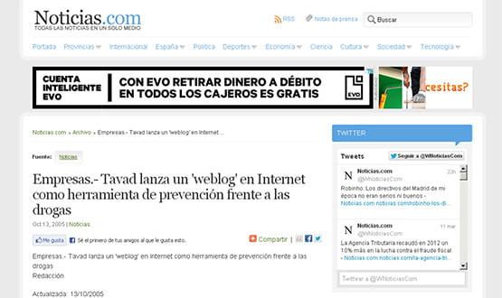 noticiascom - Artículos de prensa sobre Tavad y la adicción a las drogas en Internet