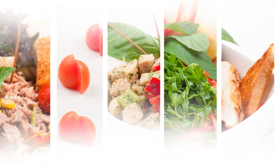 cinco secciones de alimentos saludables