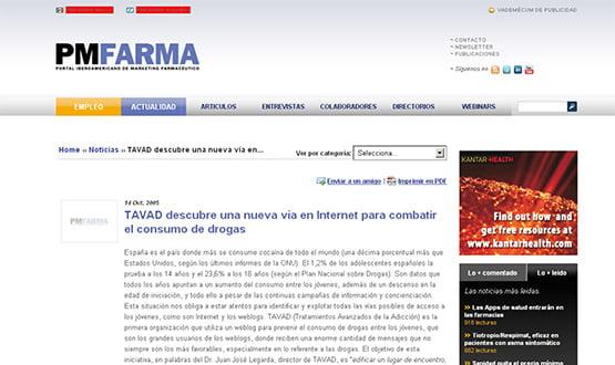 pmfarma - Artículos de prensa sobre Tavad y la adicción a las drogas en Internet