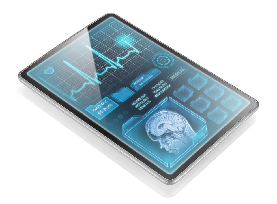 tablet con resultados de cambios cerebrales