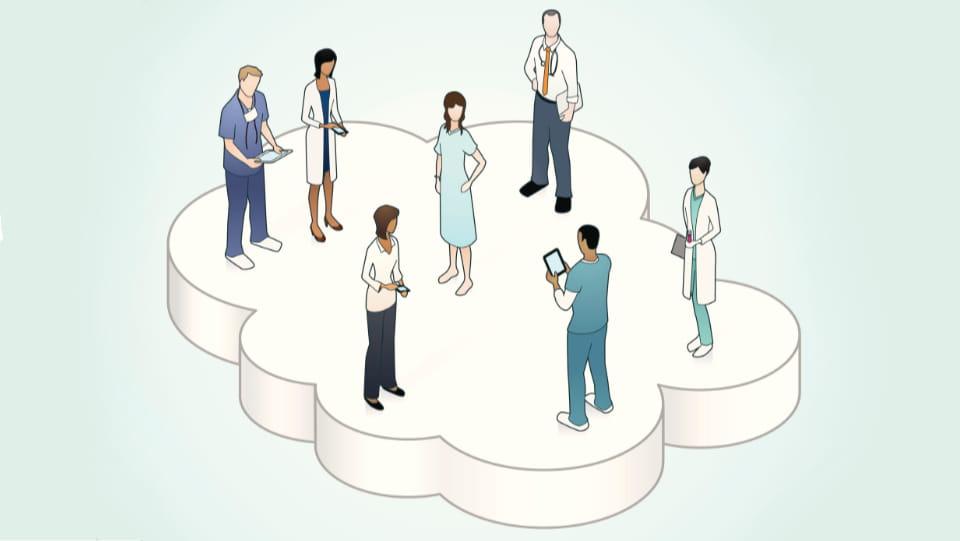 ilustracion de doctores con paciente