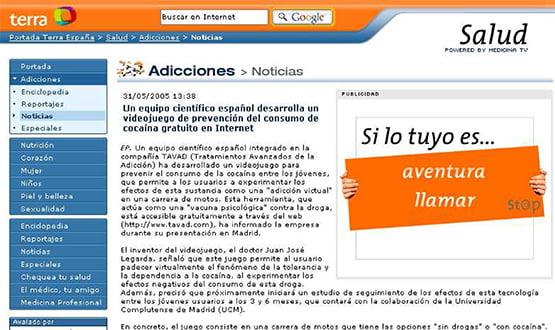 terra 310505 - Artículos de prensa sobre Tavad y la adicción a las drogas en Internet