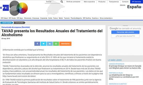 efe15 - Artículos de prensa sobre Tavad y la adicción a las drogas en Internet