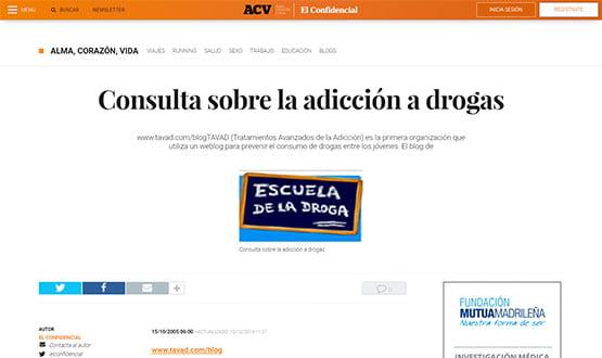 elconfidencial05 - Artículos de prensa sobre Tavad y la adicción a las drogas en Internet