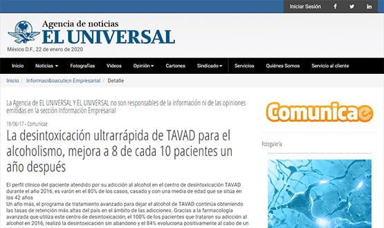 eluniversal17 - Artículos de prensa sobre Tavad y la adicción a las drogas en Internet