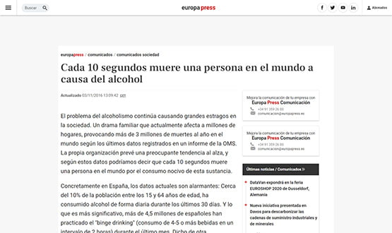 europapress15 - Artículos de prensa sobre Tavad y la adicción a las drogas en Internet