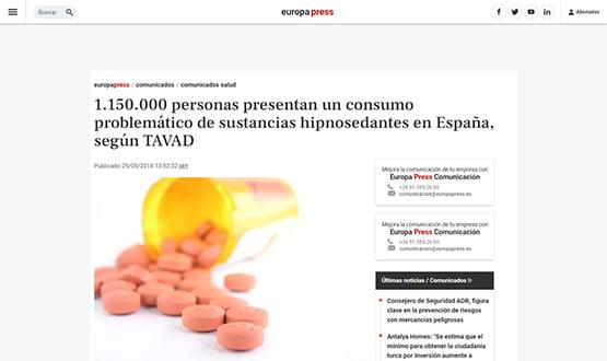 europapress18 - Artículos de prensa sobre Tavad y la adicción a las drogas en Internet