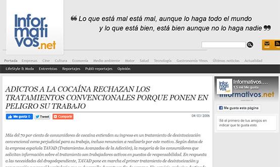 informativosnet06 - Artículos de prensa sobre Tavad y la adicción a las drogas en Internet