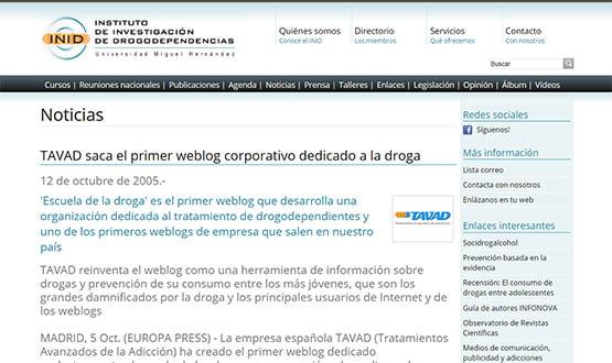 inid05 - Artículos de prensa sobre Tavad y la adicción a las drogas en Internet